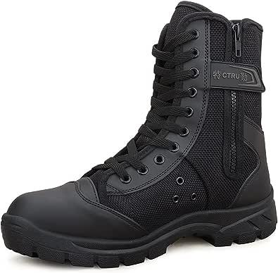LUDEY Stivali Militari Cerniera Uomo,Stivali da Combattimento High-Top Scarpe da Escursionismo Scarpe da Lavoro A-307