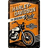 Nostalgic Art Harley Davidson The Original Ride - Placa decorativa, metal, 20 x 30 cm, color naranja y negro