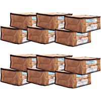 Amazon Brand - Solimo 12 Piece Non Woven Fabric Saree Cover Set with Transparent Window, Large, Brown