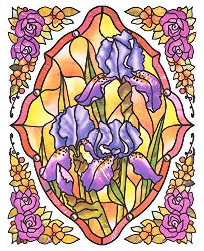 dpr. Fensterbild Set 5-TLG. - Tiffany Optik - Blumen - Iris/Schwertlilie - zart beglimmert - mit Eckbordüren - Fenstersticker Fensterdeko -