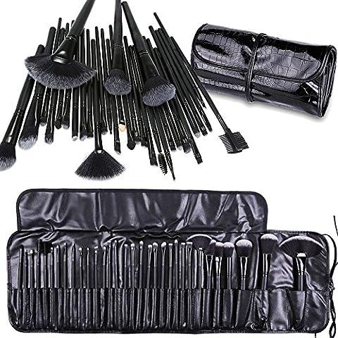 Cadrim Professional Makeup Brushes 32 pcs Natural Hair Cosmetic Brush Set Travel Makeup Brush Kit with Case Soft Make Up Brush Set (black)