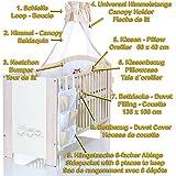 Baby Kinderbett EULEN Creme 120×60 weiss beige braun mit 9 teiligen Bettwäsche Komplettset und Matratze - 3