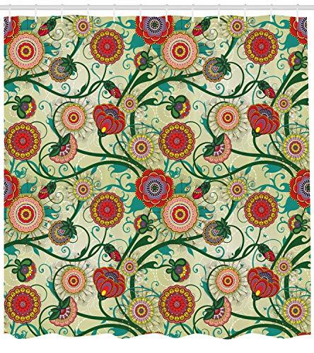 ABAKUHAUS Floreale Tenda da Doccia, Ispirazioni Orientali, Idrorepellente Resiliente Opaco, 175 x 200 cm, Multicolore