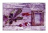Wallario Herdabdeckplatte/Spritzschutz aus Glas, 1-teilig, 80x52cm, für Ceran- und Induktionsherde, Motiv Getrocknete Blätter - Herbst Stillleben in lila