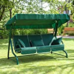 Swing Seat for 3 with Luxury Green Cu...