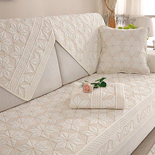 Dw&hx cotone copertura divano trapuntato fodera per divano copridivano copertine componibile antiscivolo antimacchia colore puro sofa protettore cuscino copre per salotto -beige 110x160cm(43x63inch)