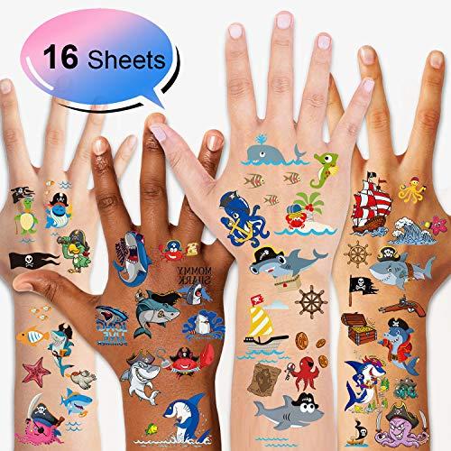 Konsait Delfine/Piraten Tattoo Set Kinder temporäre tattoos Aufkleber Sticker for Kinder Party Mitgebsel Kindergeburtstag geschenktüten Kinder Spielen Piraten Party zubehör (Make-up Spielen Halloween-karte)