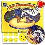 Tastenzauberei Band 1 - Klavierschule mit CD für Kinder und Jugendliche von Anike Drabon - für den Einzel- und Gruppenunterricht - mit 7 lustige Smiley-Sticker und bunter herzförmiger Notenklammer
