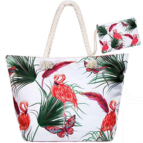 Meersee Große Strandtasche mit Reißverschluss und Innentasche Wasserdicht Badetasche Einkaufstasche Shopper für Damen,Rote Flamingos - Innentasche Mit Reißverschluss