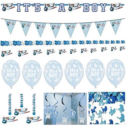 Boy Komplettset Girlande Konfetti Luftballons Girlanden Babyparty