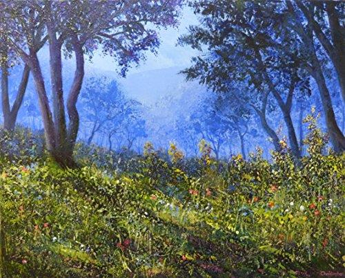 luce-solare-50cmx40cm-alberi-pittura-intenso-blu-nebbioso-boschi-fiori-selvatici-screziata-di-sole-o