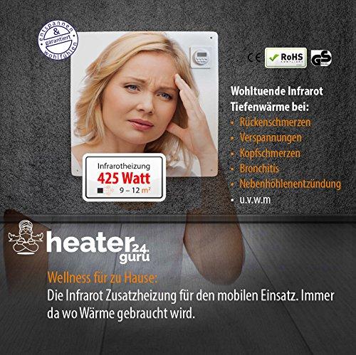 Heizgerät Elektrisch mit Temperatursensor 425 Watt für 9 – 12 Quadratmeter, Steckdosenbetrieb mobiles Heizgerät extra leise Heizkörper Feuchträume und Wärmetherapie geeignet