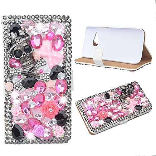 Evtech (TM) teschio con strass Bling glitter custodia a portafoglio in pelle PU a libro con borsetta porta cellulare e carte per HTC One M8Mini - Ivory Pearl Carta