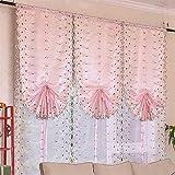 CURTAINS Zhang-Yuan Tian Hauptdekoration Lifting Raffrollos Wohnzimmer Wear Bars Heben Vorhang Shade Tuch Stickerei rosa/weiß, 100cmx80cm, pink pink Rose