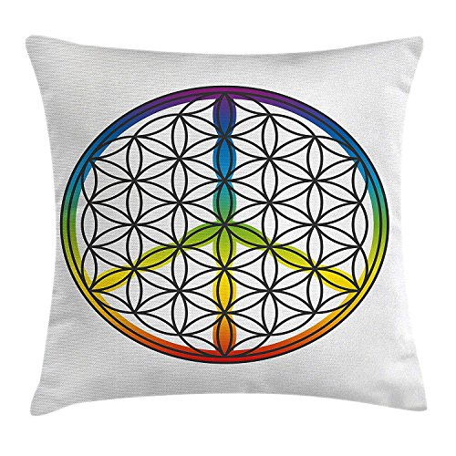 Hippie Throw Pillow Cushion Cover, Life and Peace Symbol Forming Flower in Rainbow Colors Abstract Style Artful Design, Decorative Square Accent Pillow Case, 18 X 18 Inches, Multicolor