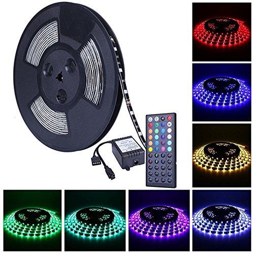 Onewatt 10m 32.8 ft 5050 SMD wasserdichtes IP44 flexibles RGB 300 LED Streifen Strip Set Lichtstreifen Kit in Schwarz PCB + 44 Tasten Fernbedienung + EU Netzadapter (Regal-kit Hotel)