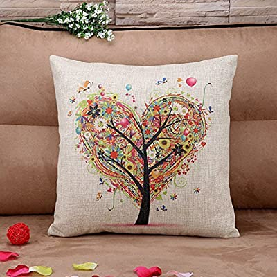 Hidoon® colourful Heart Shape Tree Cotton Linen Square Decorative Throw Pillow Case Cushion Cover 18x18 Inch (45cmx45cm)