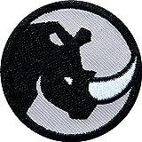 2 x Nashorn Abzeichen 45 mm / Zeichen Tier Symbol für Kraft Mut Entschlossenheit und den Artenschutz / Applikation Aufnäher Aufbügler Flicken Sticker Patch für Mode Sport Kleidung Tasche Rucksack