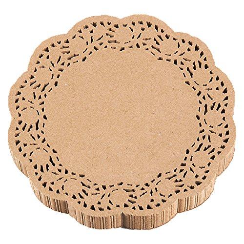 Tortenspitzen aus Papier–250Stück, rund Spitze Tischsets für Kuchen, Desserts, gebackener behandeln Display, ideal für Hochzeiten, formelle Event Dekoration, Geschirr Dekor, braun–20,3cm in Durchmesser