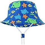 LAPOPNUT Chapeau de Enfant Chapeau de Soleil Anti-UV en Coton Bébé Enfant Garçon Bob de Plage Réglable à Corde pour Printemps