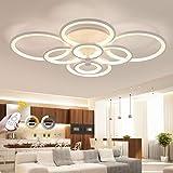 Plafonnier LED, ONLT 108W Dimmable LED Moderne Plafonnier 8 têtes Anneaux Luminaire pour Salon,LED Acrylique Lampe de plafond