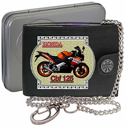 honda-cbf125-repsol-orange-klassek-men-wallet-with-chain-motorbike-accessory-gift-bike-real-leather-