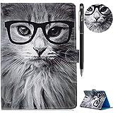 WIWJ Hülle Case für iPad 9.7 Hülle,Ultra Slim Gemalt Schutzhülle Tasche Case Mit 3D lackiertes Tablet Lederhülle Schale Für iPad 9.7 Hülle 2018 iPad 6 Generation-Modekatze