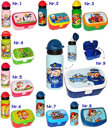 2-tlg-Set--Brotdose-Trinkflasche-Ihr-Wunschmotiv-Mdchen-Jungen-Lunchbox-mit-herausnehmbaren-Fach-extra-Einsatz-Kche-Essen-Brotbchse-Tiere-Autos-Fahrzeuge-Blumen-Kinder-Vesperdose-Brotzeitdose-Fach-Tre