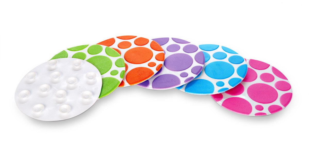Munchkin Non-Slip Grippy Dots Bath Mat Hot Detection Technology, Pack of 6
