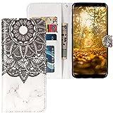 CLM-Tech kompatibel mit Samsung Galaxy S9 Plus Hülle, Tasche aus Kunstleder, Blume Ornament Marmor schwarz weiß, PU Leder-Tasche für Galaxy S9 Plus Lederhülle