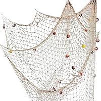 Red de pesca decorativa LoveTree, estilo mediterráneo, beige, M(150 x 200cm)
