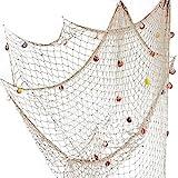 Lovetree, rete da pesca nautica con conchiglie in stile mediterraneo per decorare la casa, Beige, M(150 x 200cm)