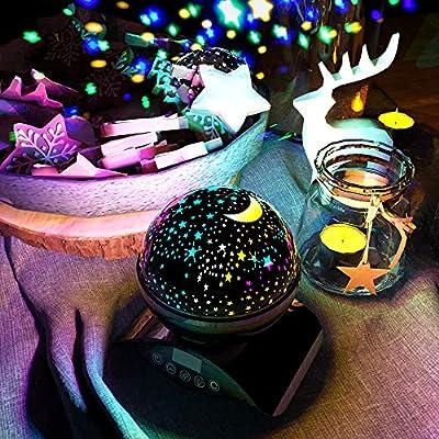 Amouhom Sternenhimmel Projektor Lampe mit Fernbedienung, LED Nachtlicht mit Wiederaufladbare Batterie 360 Drehen und Timing Nachttisch Schlaflicht