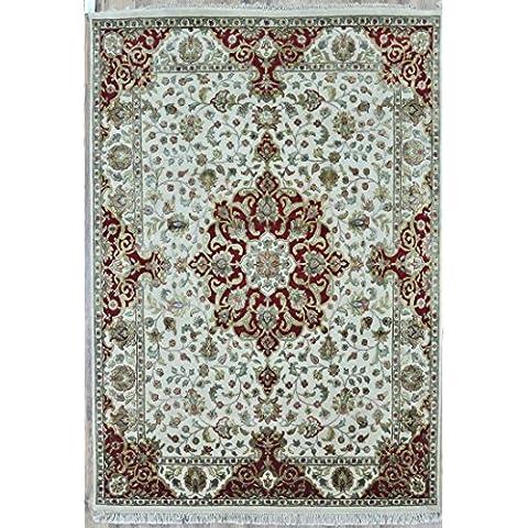 Splendid Indian Art color de lana hechos a mano marfil rojo área alfombra persa alfombra
