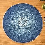 MM& HCC&-europäischer Stil Wohnzimmer Schlafzimmer Runde Teppiche 100% Polyesterfaser Blau Multifunktion Rutschfest Teppich, 120 * 120cm
