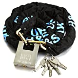 H&S® 6/8/10mm Dia x 1.2/2M HEAVY DUTY Motorcycle Motorbike Bike Bicycle Cycle Chain Lock PadLock (6mm Dia x 2000mm Length) by Generic