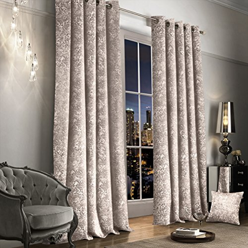 Luxury Thermal Crushed Velvet Cream / Ivory Ringtop Pair of Curtains (46″ Wide x 54″ Drop)