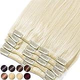 S-noilite® Extensiones de clip de pelo natural cabello humano #60 Rubia platino - 100% Remy hair – 8 piezas 18 clips (25cm-70g)