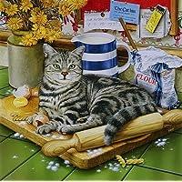Delia Lrg. The Chef gatto seduto sul Tagliere da Geoff Tristram-Stampa, immagine di gatto soriano misura circa 30,48 x 30,48 (12