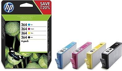 HP 364 Multipack Original Druckerpatronen (für HP Deskjet, HP Officejet, HP Photosmart) schwarz/cyan/magenta/gelb