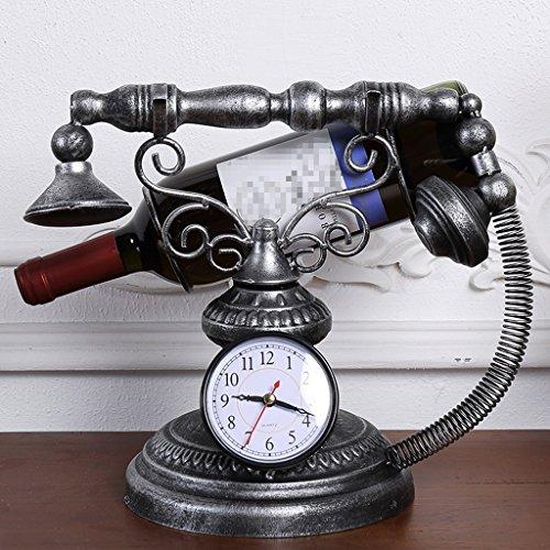 Cremagliera del vino wqq soggiorno per la casa europeo creativo decorazione del mobile del vino decorazione di ferro vintage orologio semplice portabottiglia di vino (colore : a)