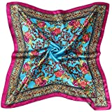 Datework Women Floral Printed Square Scarf Head Wrap Shawl (Blue)