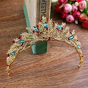 Queen Bride Barocke Brautkrone Handgemachte Diamant Gold Haarband KöNigin Kristallkrone Hochzeit Tiara