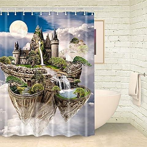 FOOG Fairy Tale Air Castle Shower Curtain Full Moon Shy
