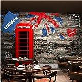 Yhzer Carta Da Parati Personalizzata Con Foto 3D Vintage London Street Adesivo Murale Ristorante Cafe Soggiorno Divano Sfondo Murale Carte Da Parati Non Tessute-400X280Cm
