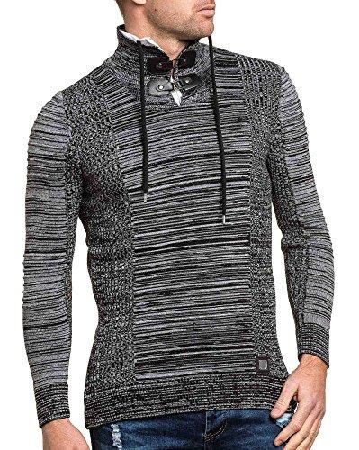 BLZ jeans - Pullover gerippte Doppelkragen schwarzen Mann Schwarz