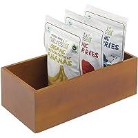 mDesign boîte en bois de bambou – boîte de rangement empilable rectangulaire en bois de bambou écoresponsable – boîte à…