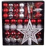Unbekannt 50 TLG. Set Weihnachtskugeln Baumschmuck Weihnachtsbaum Tanne Deko Baum Kugeln, Farbe:Rot_Silber
