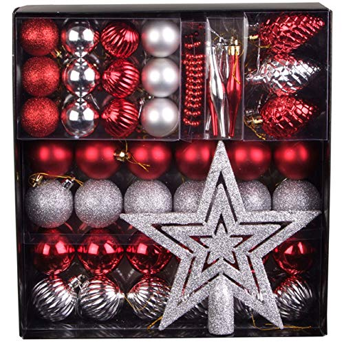 50 tlg. Set Weihnachtskugeln Baumschmuck Weihnachtsbaum Tanne Deko Baum Kugeln, Farbe:Rot_Silber
