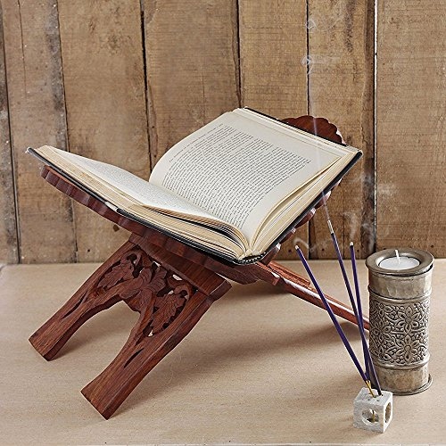 Store Indya Folding Religious Prayer Book Holder Display Stand Wooden Hands Free Reading Stand with Intricate Carvings  available at amazon for Rs.599